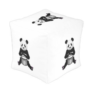 Funny Panda Playing Drums Cube Pouf