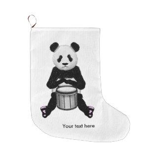 Funny Panda Playing Drums Large Christmas Stocking