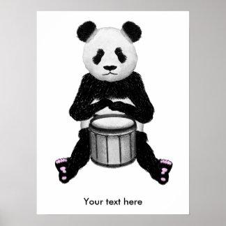 Funny Panda Playing Drums Poster