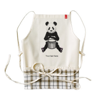 Funny Panda Playing Drums Zazzle HEART Apron