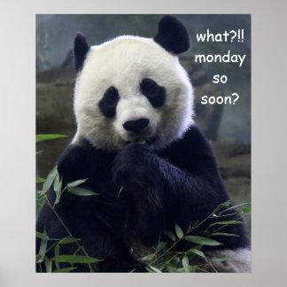 Funny Panda Poster, Monday So Soon? Poster