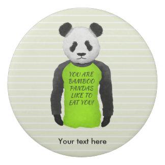 Funny Panda Wearing a Green Tshirt Eraser