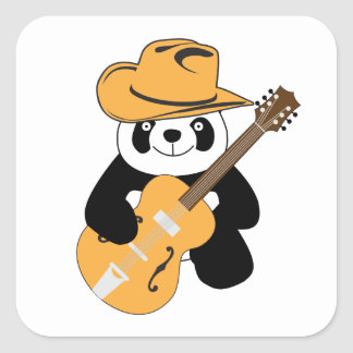 Funny panda with guitar square sticker