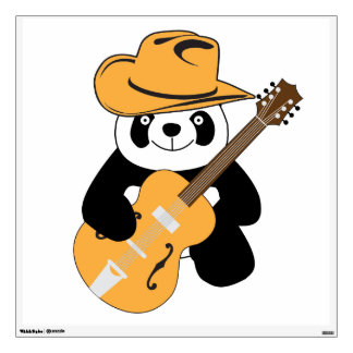 Funny panda with guitar wall decal