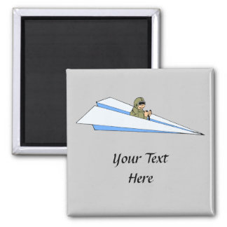 Funny Paper Airplane Pilot 2 Inch Square Magnet