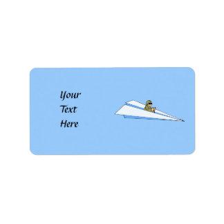 Funny Paper Airplane Pilot Address Label