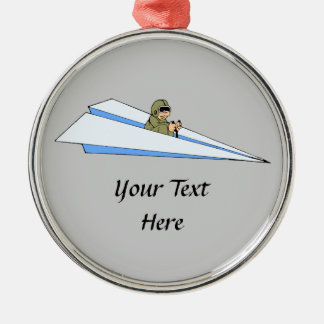 Funny Paper Airplane Pilot Ornament