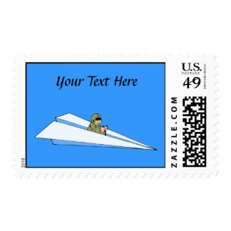 Funny Paper Airplane Pilot Postage