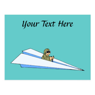 Funny Paper Airplane Pilot Postcard