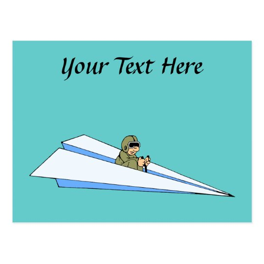 Funny Paper Airplane Pilot Postcard