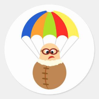 Funny Parachute Sticker Round Sticker