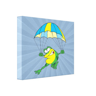 funny parachuting froggy frog cartoon canvas prints