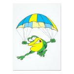 funny parachuting froggy frog cartoon invitation
