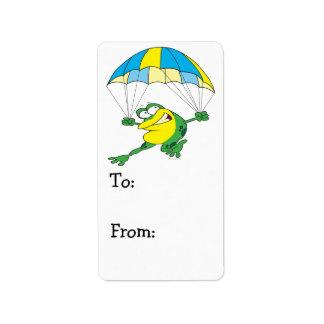 funny parachuting froggy frog cartoon address label