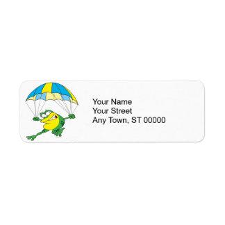 funny parachuting froggy frog cartoon return address label