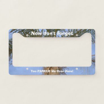 Beach Themed Funny Parked Car Palm Tree License Plate Frame