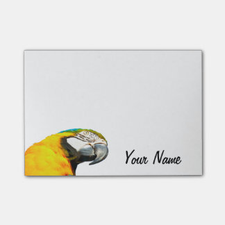 Funny Parrot Portrait Personalized Name Post-it Notes