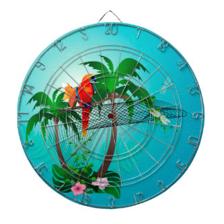Funny parrot with flowers dartboards