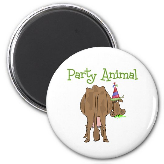Funny  Party Animal Birthday Cow Magnet