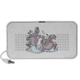funny party animal hippos in suds cartoon travelling speaker