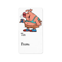 funny party animal pig hog cartoon label