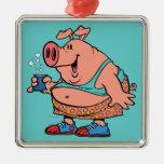 funny party animal pig hog cartoon christmas ornament