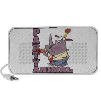 funny party animal rhino cartoon laptop speaker