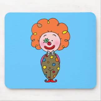 Funny party clown with orange hair mouse pad