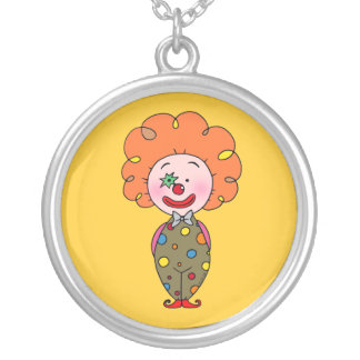 Funny party clown with orange hair round pendant necklace