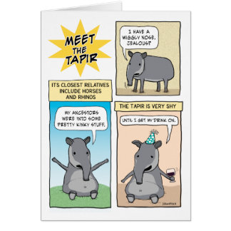Funny Party Like a Tapir Birthday Greeting Card
