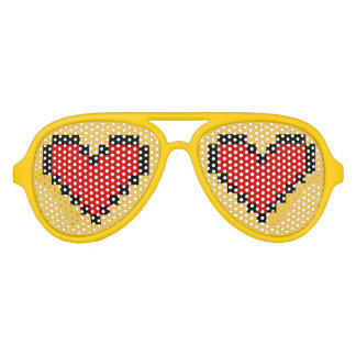 Funny party shades with red pixel heart design