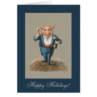 Funny Partying Pig - Cute Animal Holiday Christmas Cards