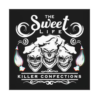 Funny Pastry Chef Skulls: The Sweet Life Canvas Print
