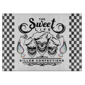 Funny Pastry Chef Skulls: The Sweet Life Cutting Board