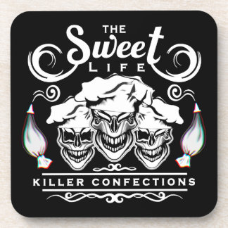 Funny Pastry Chef Skulls: The Sweet Life Drink Coaster