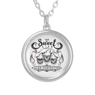 Funny Pastry Chef Skulls: The Sweet Life Silver Plated Necklace