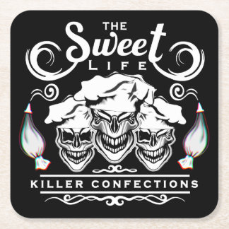Funny Pastry Chef Skulls: The Sweet Life Square Paper Coaster