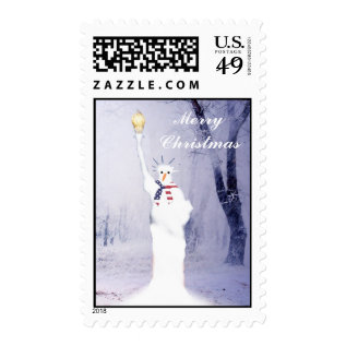 Funny  Patriotic  American  Snowman Christmas Postage at Zazzle