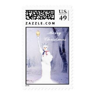 Funny  patriotic  American  snowman Christmas Stamp