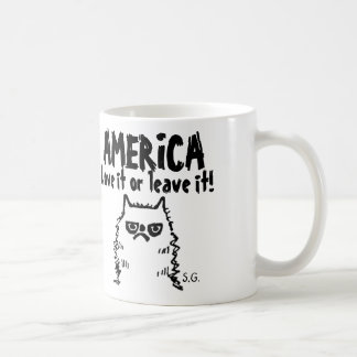 Funny Patriotic Cat, America Love it or... Coffee Mug