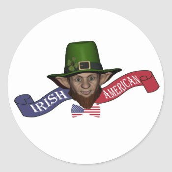 Funny Patriotic Irish American Leprechaun Classic Round Sticker by Paddy_O_Doors at Zazzle