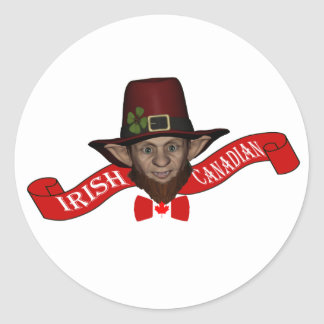 Funny patriotic Irish Canadian leprechaun Classic Round Sticker