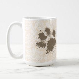 Funny Paw Print on Antique White Damask Coffee Mug