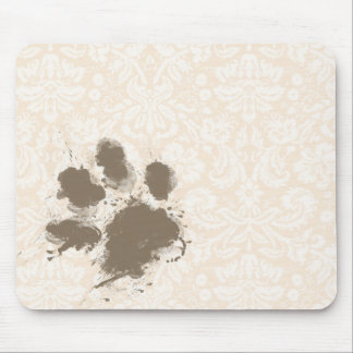 Funny Paw Print on Antique White Damask Mouse Pad
