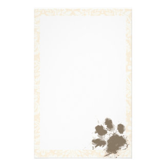 Funny Paw Print on Antique White Damask Stationery