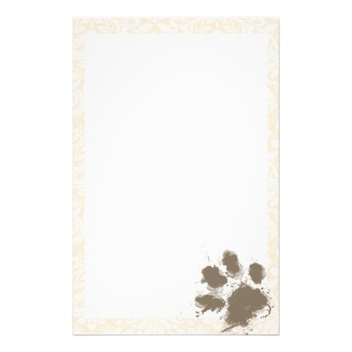 Funny Paw Print on Antique White Damask Stationery Design
