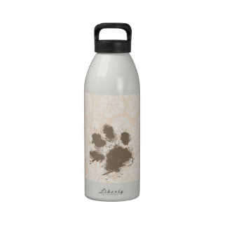 Funny Paw Print on Antique White Damask Reusable Water Bottle
