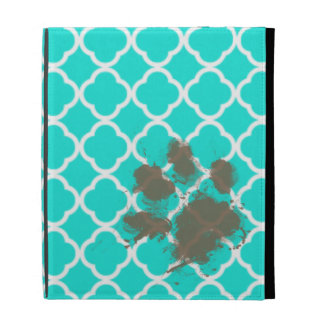 Funny Paw Print on Aqua Color Quatrefoil iPad Folio Cases