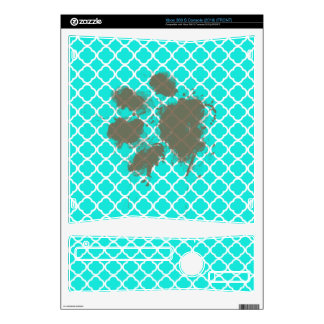 Funny Paw Print on Aqua Color Quatrefoil Skin For The Xbox 360 S