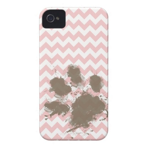 Funny Paw Print on Baby Pink, Light Pink Chevron iPhone 4 Cases